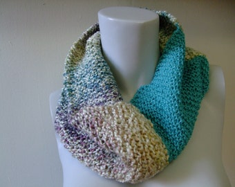 Blue and Multi-colored Scarf
