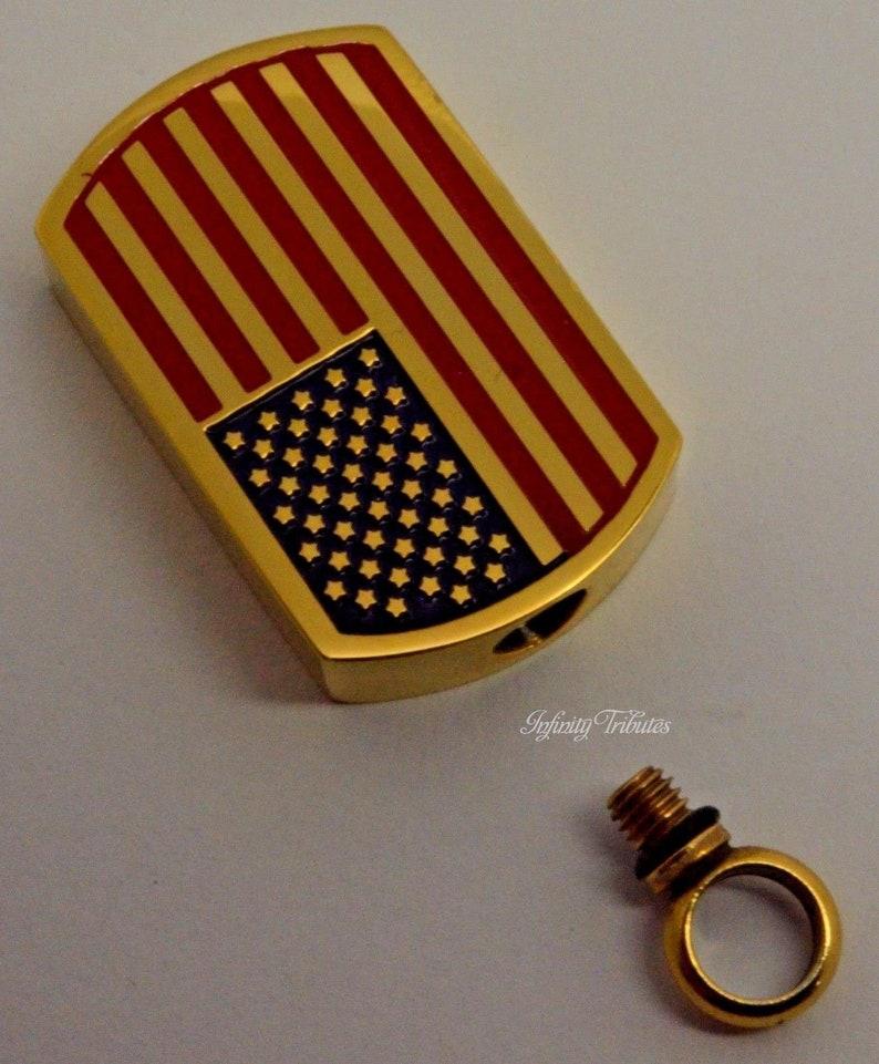 EngravingPersonalisedBespoke America Flag Keepsake Charm Necklace Holds Ashes 24k Gold Plated Chunky USA Dogtag Cremation Urn Pendant