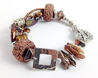 Beaded bracelet, sterling silver, beaded jewelry, multi-strand bracelet, statement bracelet, chunky bracelet, brown bracelet, gift for her