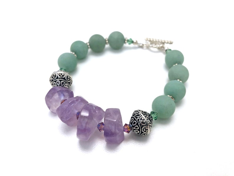 matte jade gift for her purple and green bracelet for woman gemstone and crystal friend Ametrine and jade bracelet gemstone bracelet
