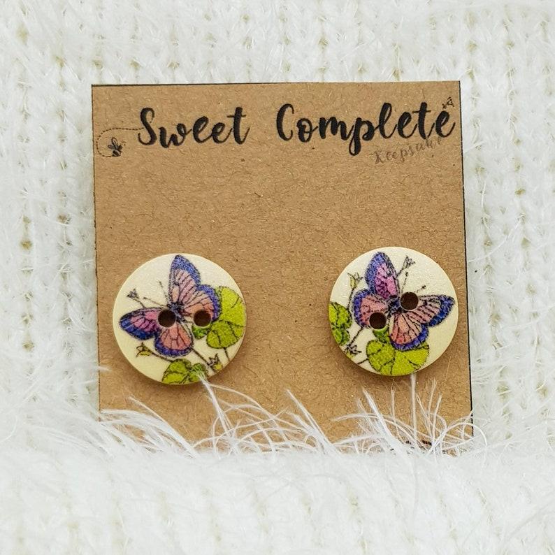 wooden button earrings to sweeten any day D4 Beautiful butterfly earring studs single butterfly