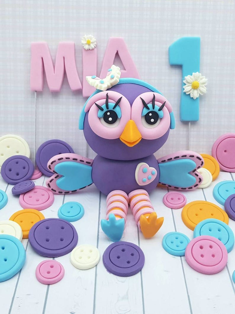 Hootabelle The Owl Edible Birthday Cake Topper Decoration Set Etsy