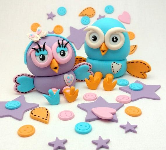 Hoot And Hootabelle Owl Birthday Abc 4 Kids Fondant Cake Etsy