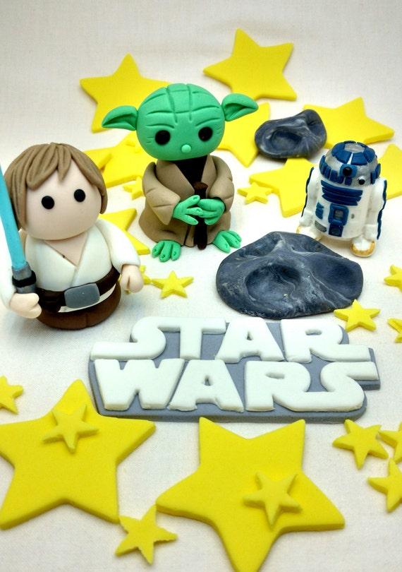 Star Wars Cake Topper Yoda Luke R2d2 Stars And Meteor Etsy