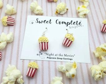 Buttered Popcorn Bucket drop earrings, 'Movie Night fun'