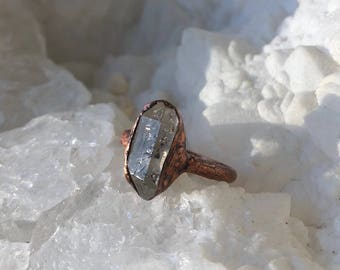 Herkimer Diamond Electroformed Ring- Size 6