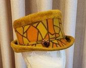 Vintage, 1960s, Made in Austria, Fur Felt, Geometric Print, Gold, Orange, Womens, Hat