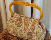 Vintage, 1950s, 1960s, MM, Regency, Morris Moskowitz, Paisley, Tortoise Shell, Lucite, Fabric, Purse, Handbag, Satchel