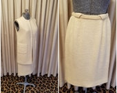 Vintage, 1960s, Suburbia, Suit, Ivory, Wool, Sleeveless, Tunic, Vest, Top, Pencil Skirt, Skirt, Two Piece, Set