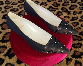 372824a260 Vintage, Christian Louboutin, Black, Crepe Fabric, Satin Ribbon, Pearl,  Kitten, Heel, Shoes, Pumps