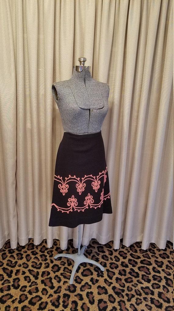 Vintage, 1960's, 1970's, Black, Wool, Knit, A-Line