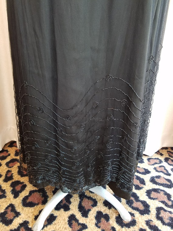 Vintage, 1900s, 1920s, Jet Black, Silk, Tulle, Be… - image 8