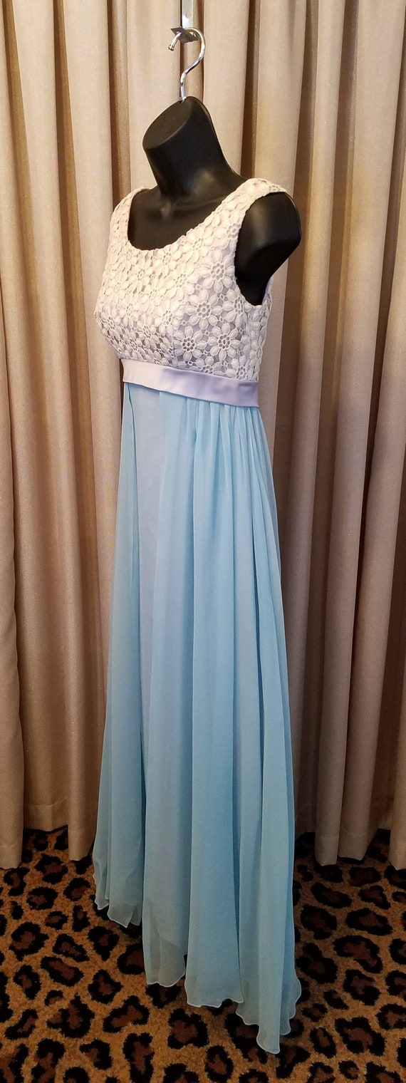 Empire Waist Party Formal Ivory Blue Vintage Dance Chiffon Sleeveless Dress Lace 1960s Gown Bridesmaid