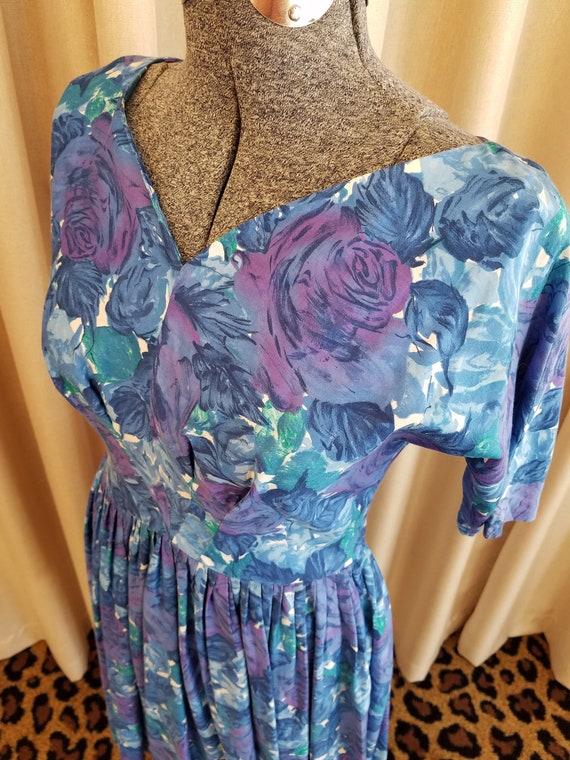 Vintage, 1950's, Blue, Purple, White, Floral, Cott