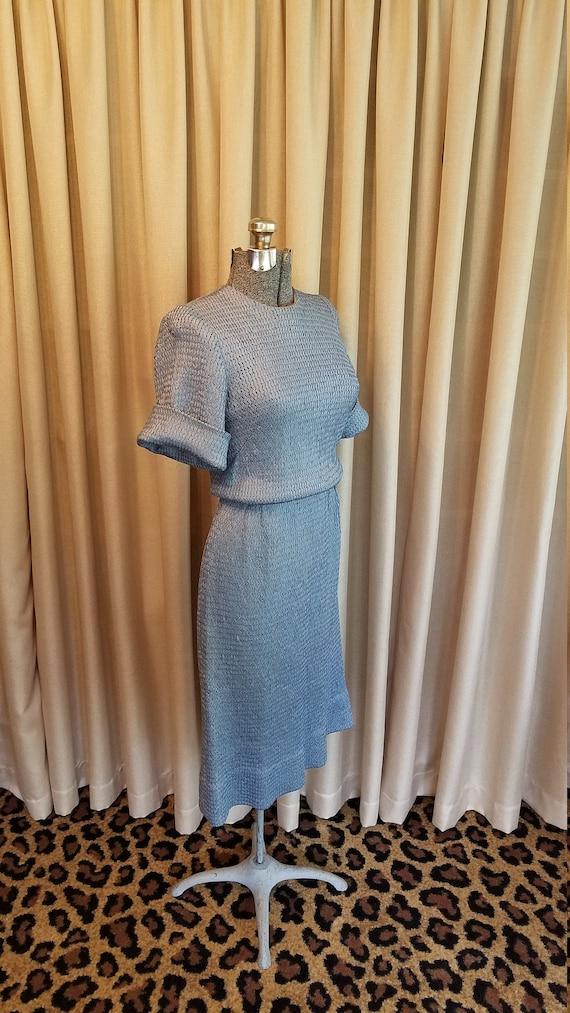 Vintage, 1940's, 1950's, Silk, Blue, Braided,  Rib