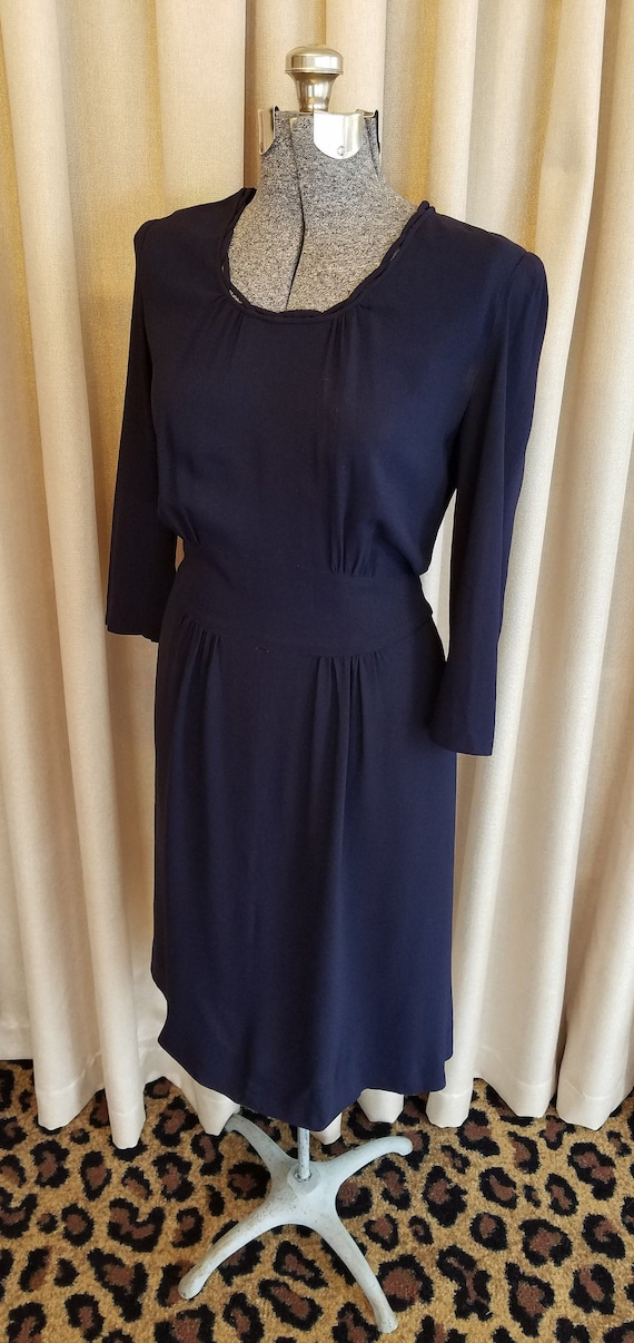 Vintage, 1940s, Navy, Blue, Rayon, Dress, Day Dres