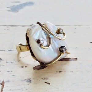 Bridal Jewelry June Birthstone Gold Ring Vermeil Ring Gold Plated Ring Wedding Jewelry Baroque Pearl Ring Mother Day Gift