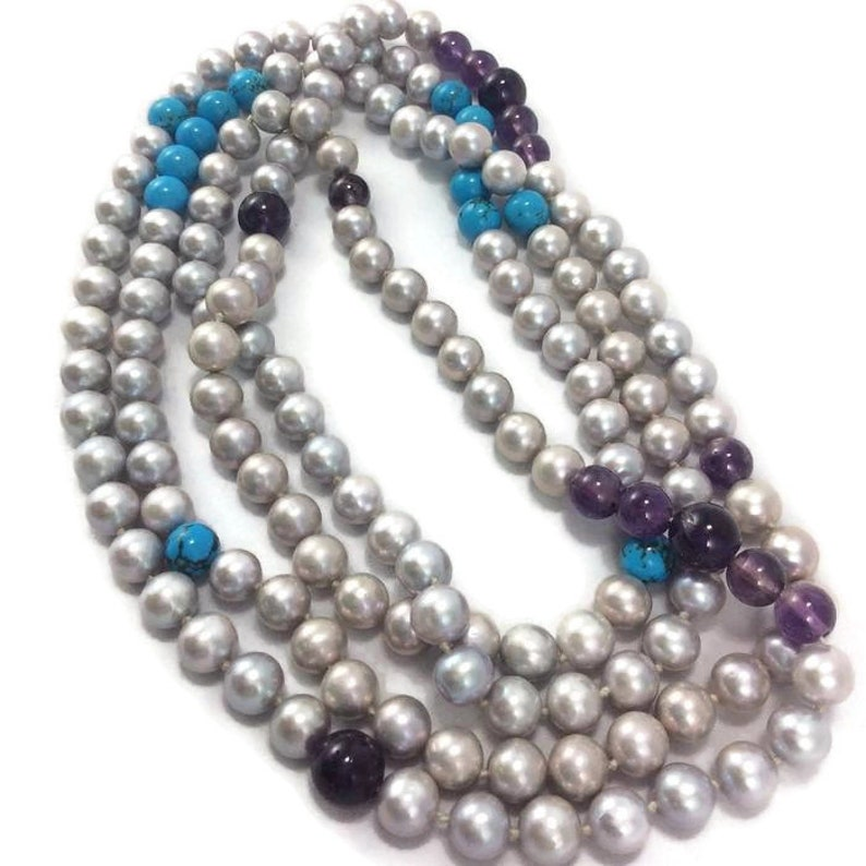 Turquoise Necklace Freshwater Silver Pearl w Turquoise and Amethyst Long Rope Necklace Amethyst Beaded Necklace Pearl Jewelry