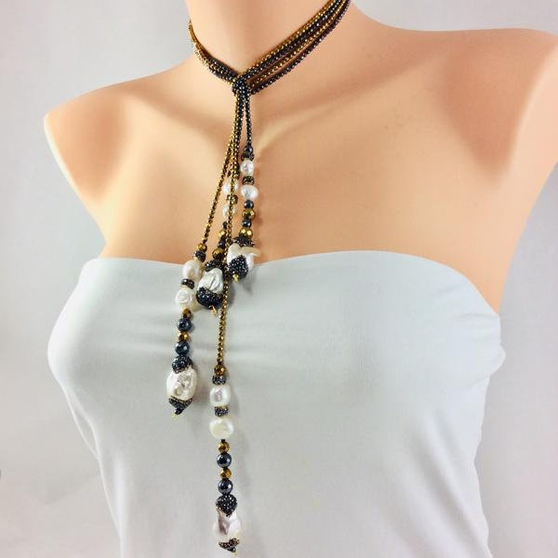 Dazzling Lariat NecklaceGold Coated Hematite NecklaceFreshwater Baroque Pearls NecklacePave Rhinestones PearlsVersatile NecklaceLayers