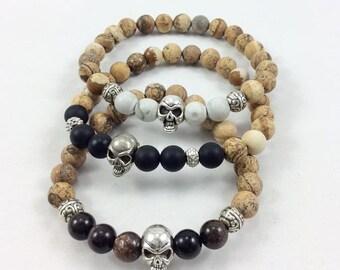 Jasper Skull Stack Bracelets