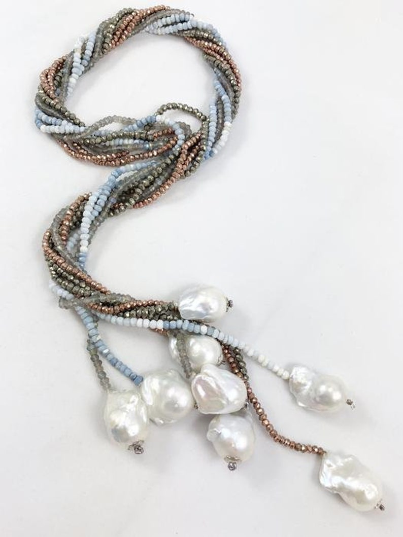 Lariat Necklace-Blue Opal-Opal Necklace-Pearl Necklace-Minimalist-Baroque Pearl-Y Necklace Shades of Blue Boulder Opal-White Baroque Pearl