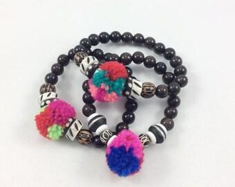 Pompoms Stack Bracelets