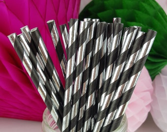 Black & Silver Striped Foil Paper Straws  // Birthday Party, Wedding, Baby or Bridal Shower  // Bar Cart Accessory or Cake Pop Sticks