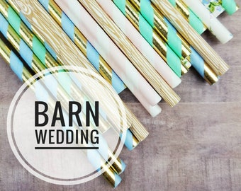 Floral Paper Straws for Barn Wedding, Rustic Wedding, Shabby Chic Wedding, Shabby Chic Bridal Shower, Summer Wedding, Floral, Wood & Gold