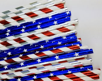 Wonder Woman or Captain America Straws. Red, Silver, Blue Foil Paper Straws for Boy or Girl Birthday Party or 4th of July. Super Hero Party.