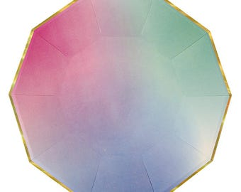 SALE Ombre Hexagon Plates. Modern Baby Shower. Modern Pastel Party Decor. Pastel Ombre & Gold Geometric Paper Dinner Plates by Meri Meri.