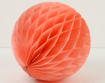 """Peach Tissue Paper Honeycomb Ball 8""""  // Party Decoration for Birthday or Wedding, Bridal or Baby Shower // Photo Prop or Backdrop"""