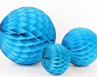 """Turquoise Tissue Paper Honeycomb Ball - 5"""" // Party Decoration for Birthday or Wedding, Bridal or Baby Shower // Photo Prop or Backdrop"""