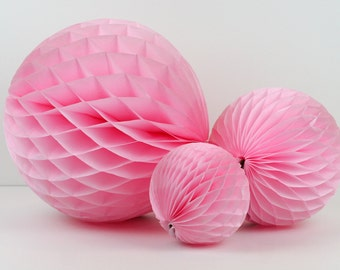 """Light Pink Tissue Paper Honeycomb Ball 5"""" // Party Decoration for Birthday or Wedding, Bridal or Baby Shower // Photo Prop or Backdrop"""