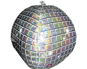 Disco Ball Balloon for Disco Party or 70's Party. Silver Mirror Ball Balloon for New Year's Eve Party or Dirty 30. Silver NYE Balloon.