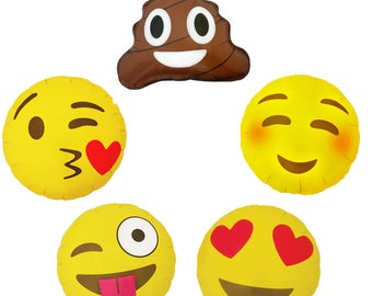 "Emoji Balloons 18"" foil. Emoticon Mylar balloons for Emoji Birthday Party, Graduation or Emoji party. Emoji Photo Prop. Trendy Social Media"