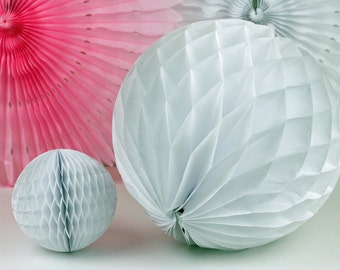 """White Tissue Paper Honeycomb Ball 12"""" // Party Decoration for Birthday or Wedding, Bridal or Baby Shower // Photo Prop or Backdrop"""