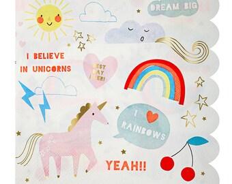 SALE Rainbow Unicorn Party Dinner Napkins by Meri Meri. Rainbow Birthday Party. Unicorn Birthday Party. Rainbow Unicorn Napkins.