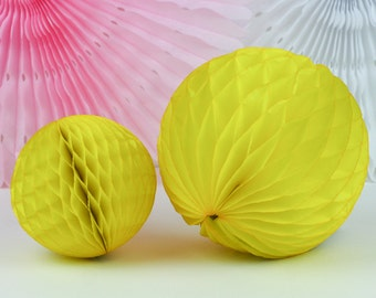 """Yellow Tissue Paper Honeycomb Ball - 8""""// Party Decoration for Birthday or Wedding, Bridal or Baby Shower // Photo Prop or Backdrop"""