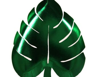 SALE Green Foil Palm Leaf Paper Plates by Meri Meri // Tropical Tableware // Bar Cart // Luau // Bachelorette // Party Supplies