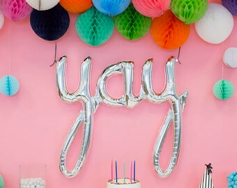 Yay Balloon in Silver for Pregnancy Announcement, Gender Reveal, Birth Announcement, Divorce, or New Job. Silver Yay Balloon for Engagement.