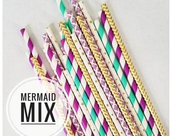 Mermaid Party Paper Straws in Purple, Aqua & Gold for Mermaid Birthday or Under the Sea Birthday Party for Girl. Mermaid Bar Cart Accessory.