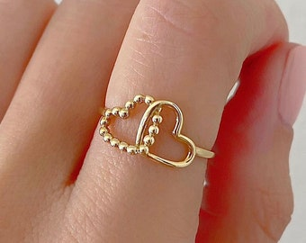 Gold Filled Double Heart Stacking Ring