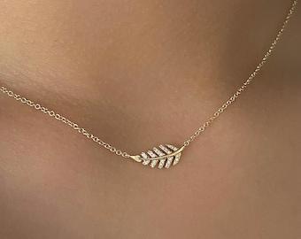 Unisex Sterling Silver Vine Olive Branch Leaf Pendant with Custom Length Fine Chain Harvest Necklace