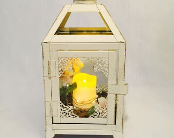 Small Vintage White Lantern/ unique gift / Wedding Lantern with candle/ Candle Holder/ table centrepiece/ hanging lantern/ shipping included