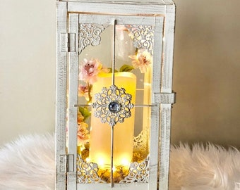 Large Vintage White Wedding Lantern/ unique gift/ Wedding Decor/ White Lantern/ Lantern with candle/ table centrepiece/ Shipping Included