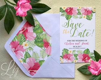 Tropical Save The Dates cards with matching envelopes
