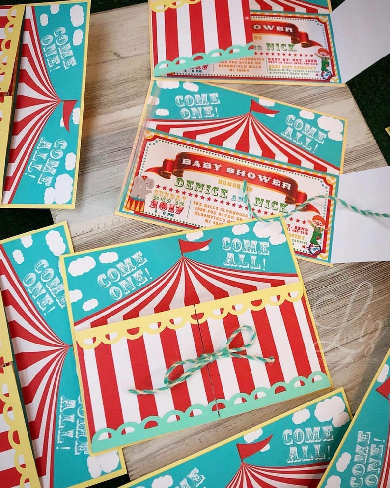 Circus Theme Birthday Party Or Baby Shower Invitations