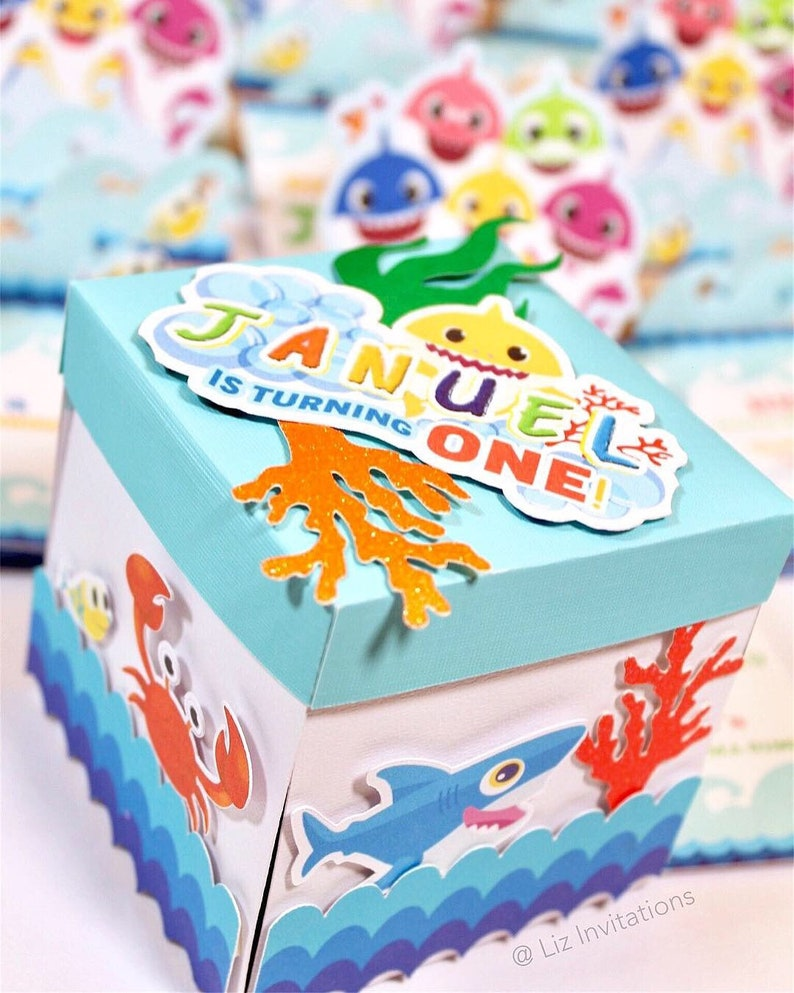 12 cts Baby Shark Surprise box invitations for birthday party
