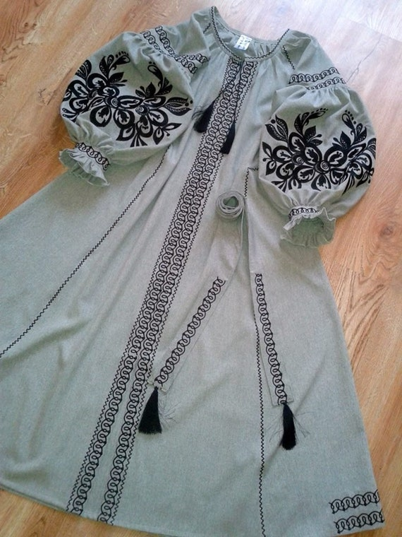 Bird pattern Embroidered Maxi Dress Linen Pattern Ukrainian Boho Ethnic