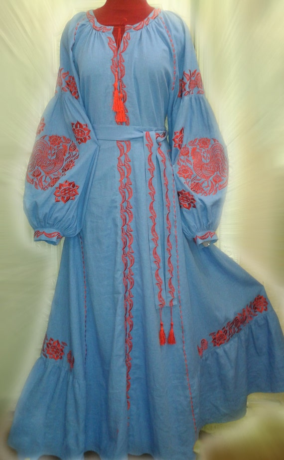 Pattern Linen Ethnic Boho Dress Ukrainian Embroidered Red DenimBlue Vyshyvanka Maxi CIqSXgw